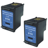 Amsahr HP C8765WN, 5740, 6540 Remanufactured Replacement Ink Cartridges - Includes TWO BLACK Cartridges
