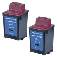 Amsahr Lexmark 12A1970, 1000, 1020 Remanufactured Replacement Ink Cartridges - Includes TWO BLACK Cartridges