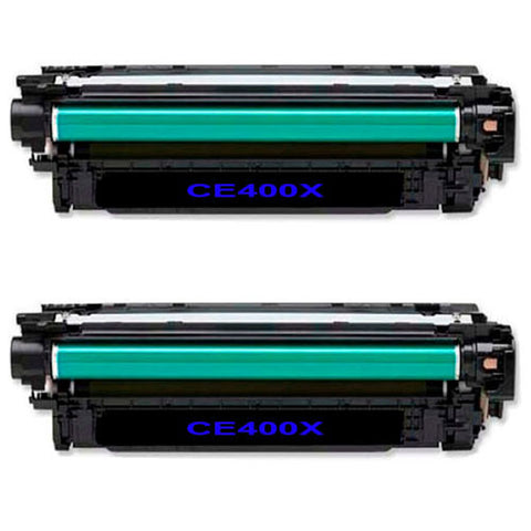 Amsahr HP LaserJet 500 Color M551, M575, CE400X Compatible Replacement Toner Cartridge - Includes TWO BLACK Cartridges.