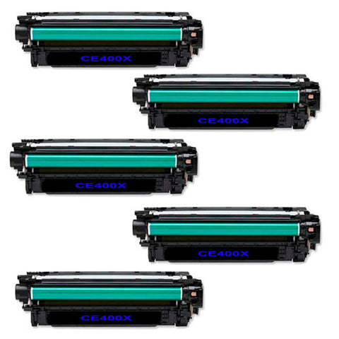Amsahr HP LaserJet 500 Color M551, M575, CE400X Compatible Replacement Toner Cartridge - Includes FIVE BLACK Cartridges.