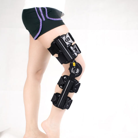 Amsahr Orthopedic Adjustable Leg Support Post-Op Hinged Rom Knee Brace - Universal 35-45 (Calf-Length)