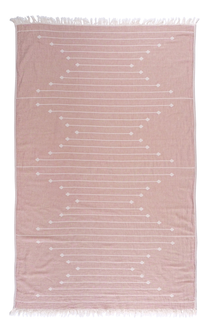 Connecting Dots Towel - Dusty Blush and White