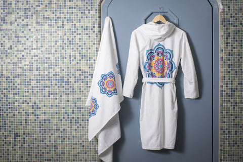 Gift Set - Mia Mandala 3 Piece Gift Set (Bathrobe, Bath Towel and one Hand Towels)