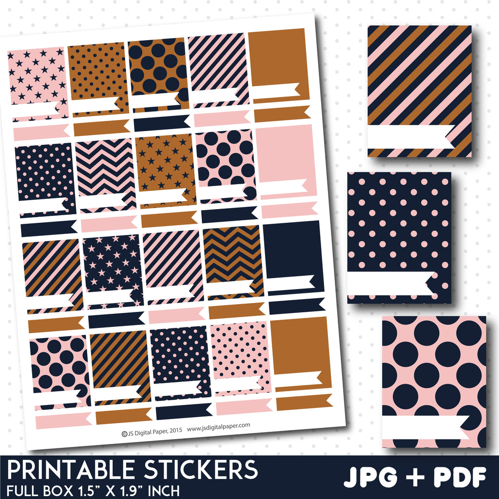 FREE full box pink and brown stickers with flags
