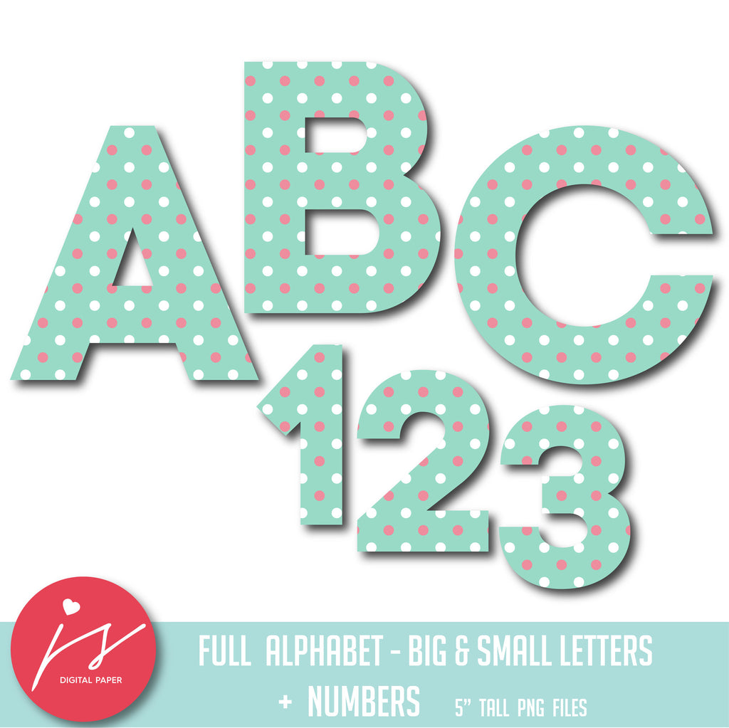 Mint alphabet clipart in white and pink polka dots, AL-02