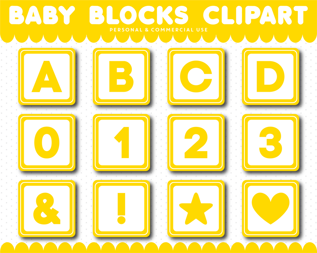 Yellow Baby blocks alphabet clipart with numbers, AL-102