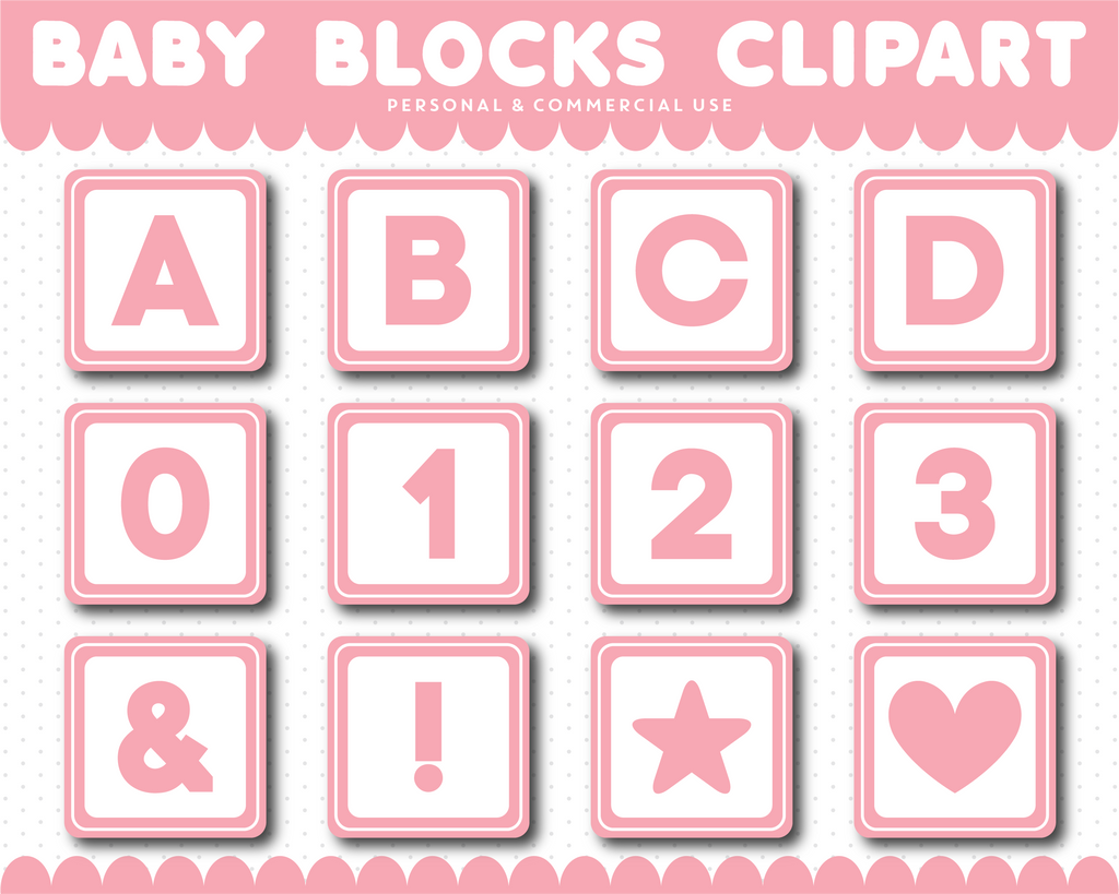 Pink Baby blocks alphabet clipart with numbers, AL-103