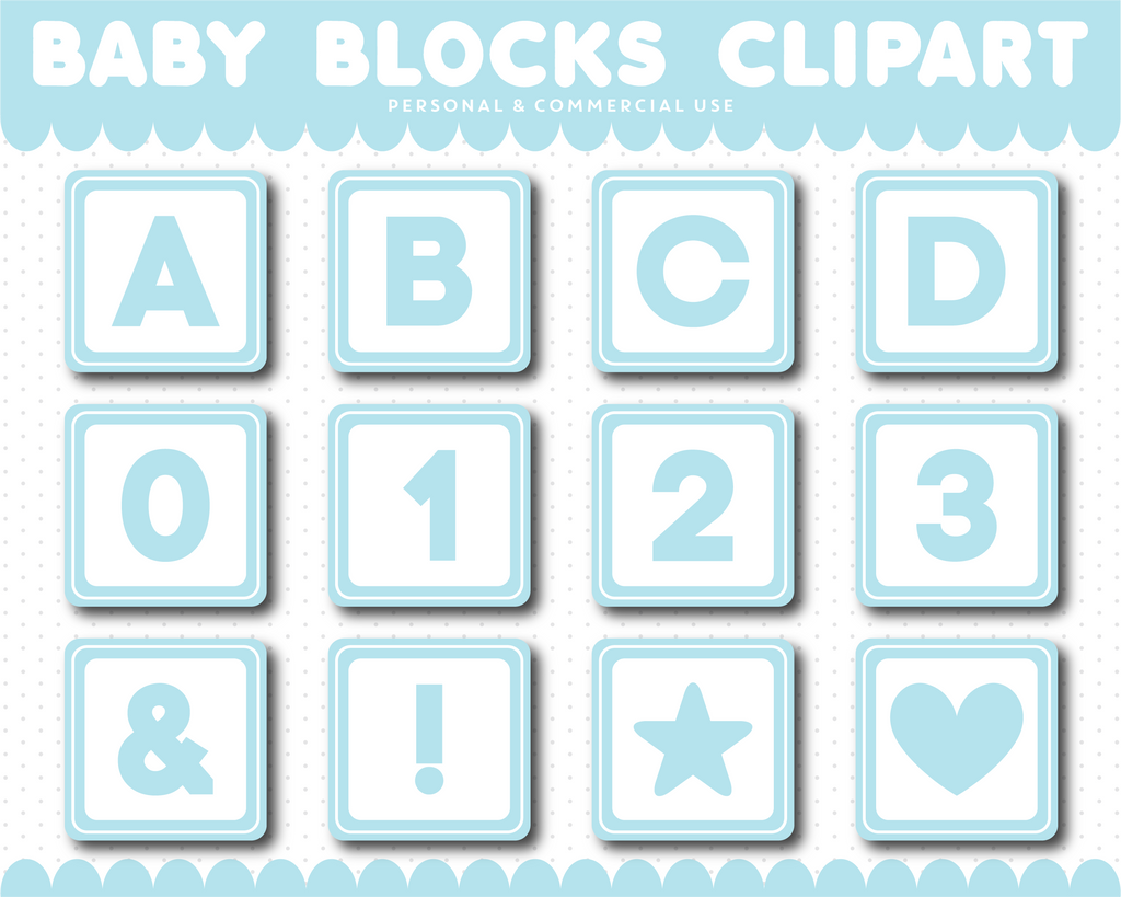 Blue Baby blocks alphabet clipart with numbers, AL-104