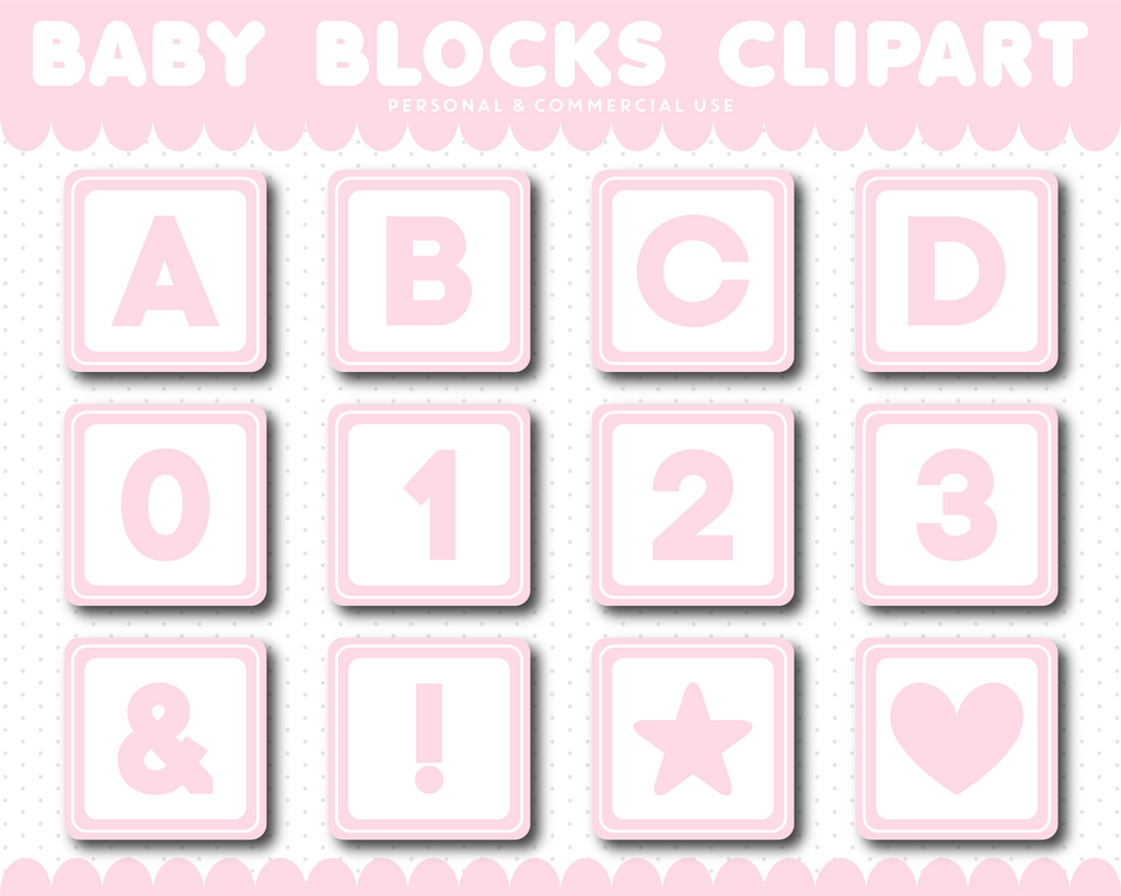 Light Pink Baby blocks alphabet clipart with numbers, AL-107
