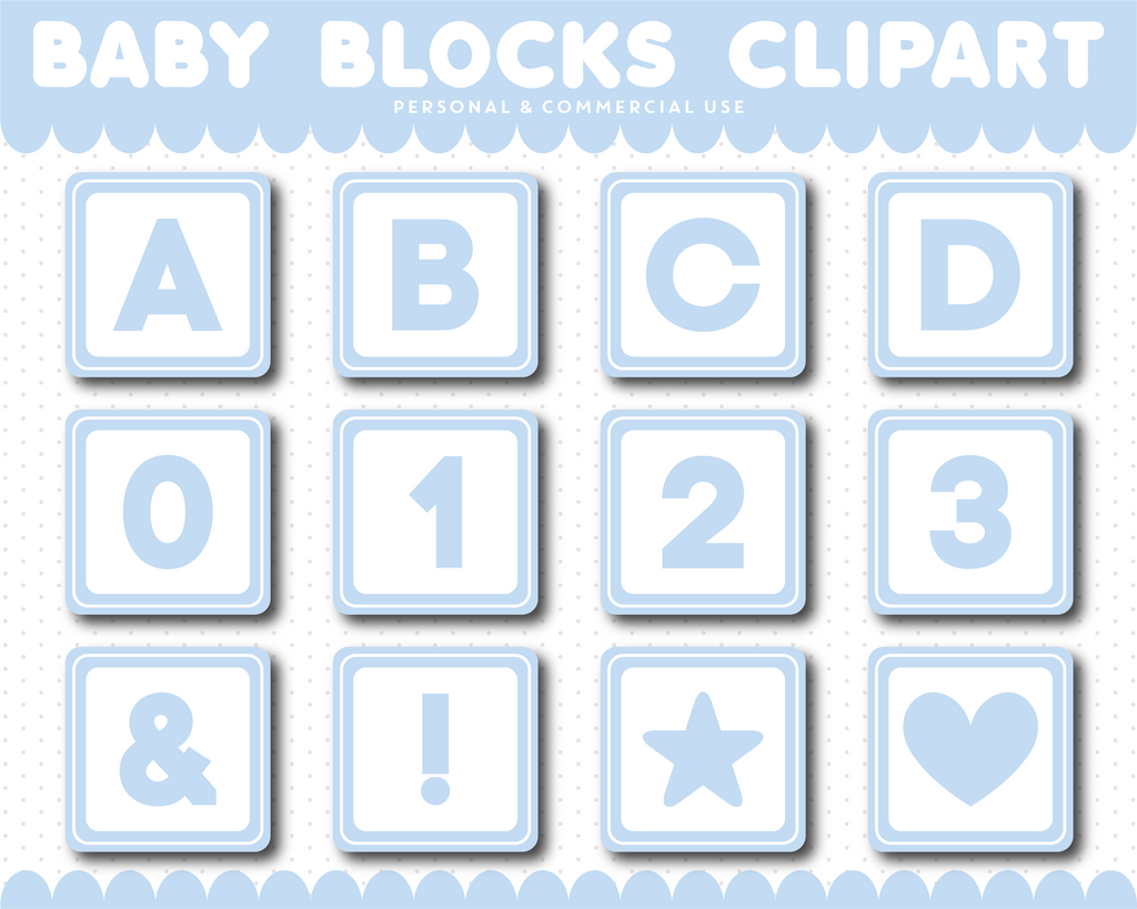 Light Blue Baby blocks alphabet clipart with numbers, AL-108