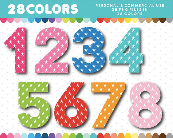 Star pattern alphabet clipart with numbers in rainbow colors, AL-112