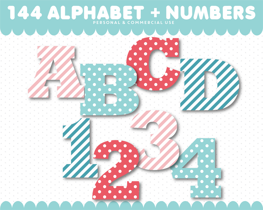Numbers clipart with letter clipart in stripes and polka dots, AL-117
