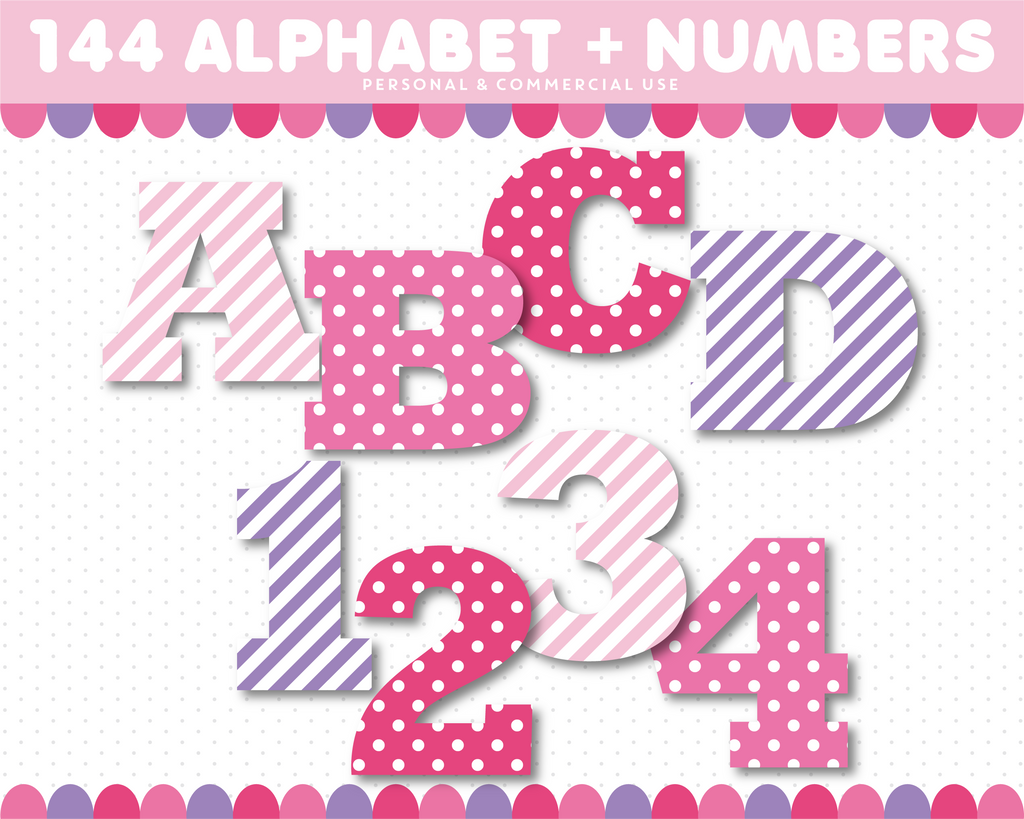 Alphabet clipart in pink and purple colors, AL-120