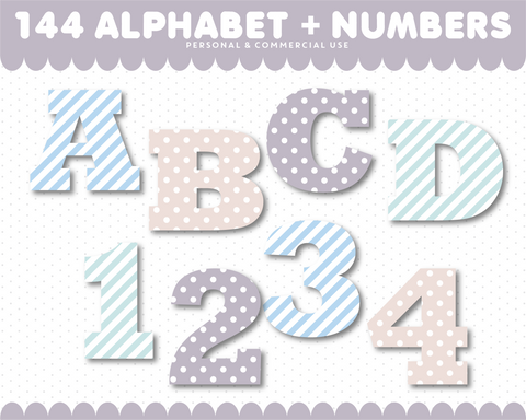 Alphabet and numbers clipart with stripes and polka dots, AL-141
