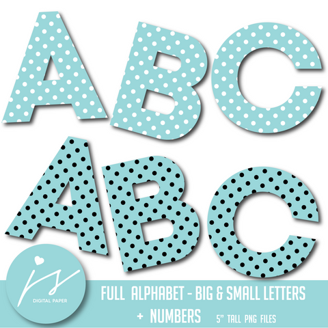 Baby blue alphabet clipart in white and black polka dots, AL-124