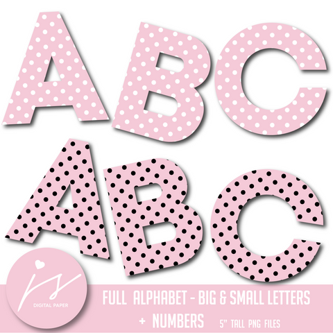 Baby pink alphabet clipart in white and black polka dots, AL-131