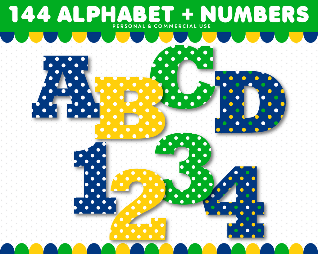 Green, yellow and blue alphabet clipart, AL-141