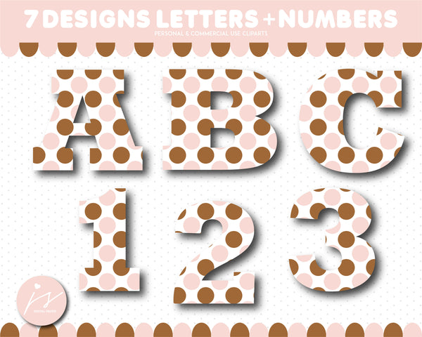 Brown and pink alphabet CLIPART letters and numbers with polka dots and stripes, AL-146