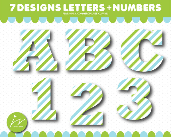 Green and blue alphabet CLIPART letters and numbers with polka dots and stripes, AL-151