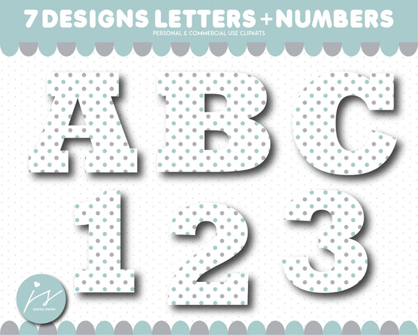 Grey and dark mint alphabet CLIPART letters and numbers with polka dots and stripes, AL-167