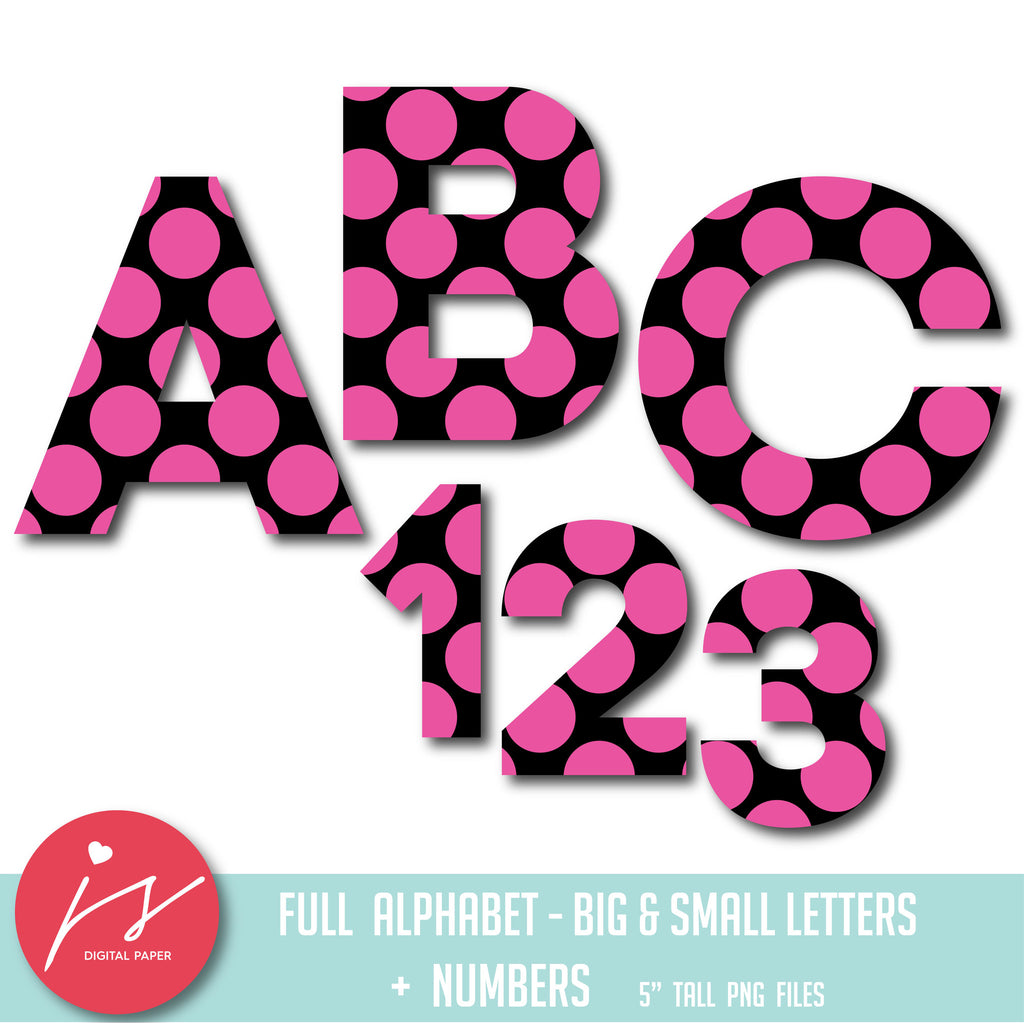 Hot pink and black alphabet clipart with big polka dots, AL-52