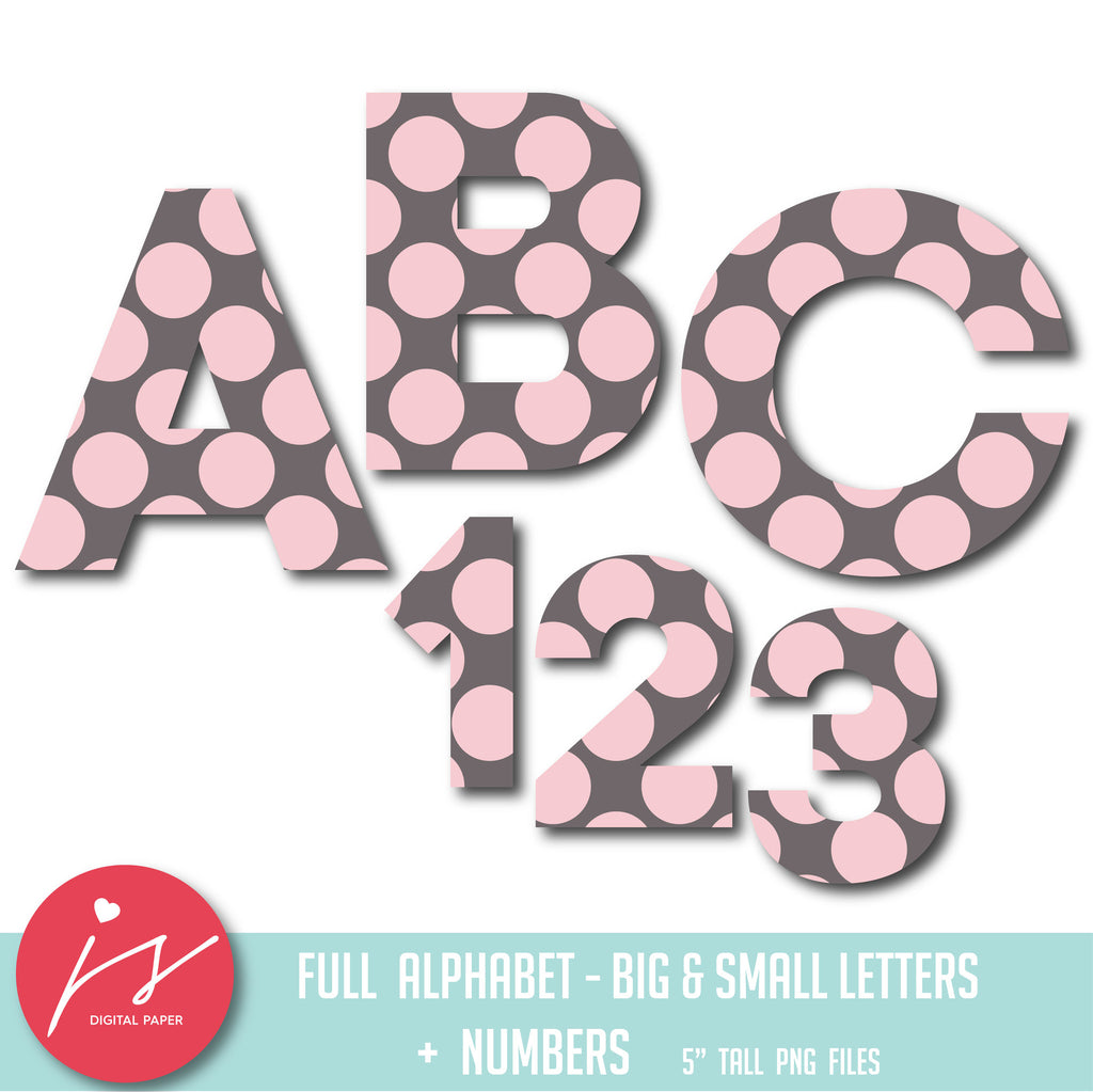 Light pink polka dot alphabet clipart, AL-59