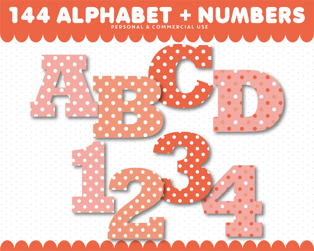 Coral alphabet clipart with polka dots, AL-68