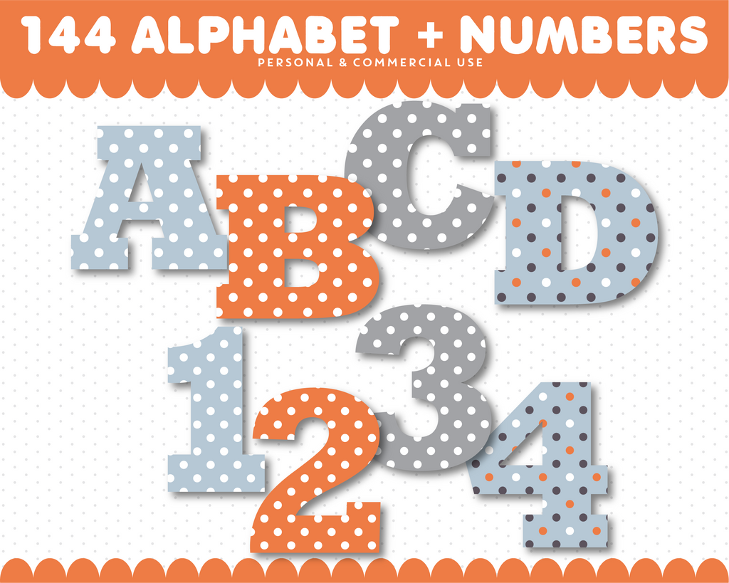 Orange and blue alphabet clipart with clipart numbers, AL-78