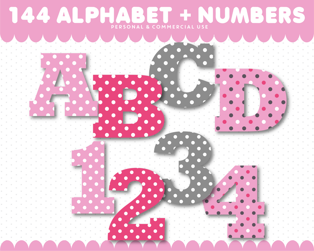 Pink alphabet clipart and pink number clipart, AL-82