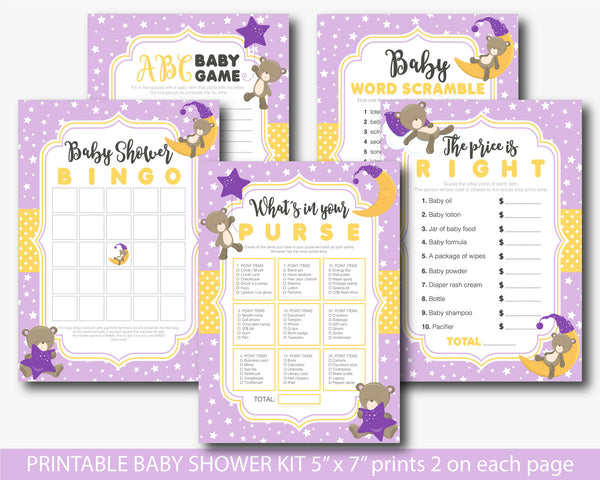 Purple Teddy bear baby shower games set, Yellow bear baby shower games, Teddy baby shower theme, BB3