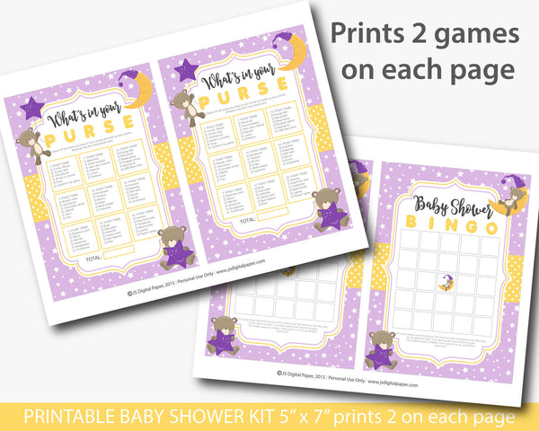 Purple forest bear baby shower games set, Purple teddy baby shower games, Teddy baby shower theme, BB3