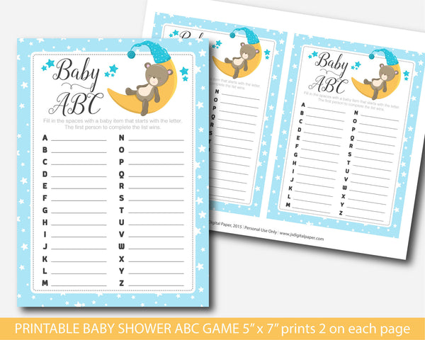 Bear baby shower abc game, Teddy baby abc game, Woodland bear themed baby shower, BB4-04
