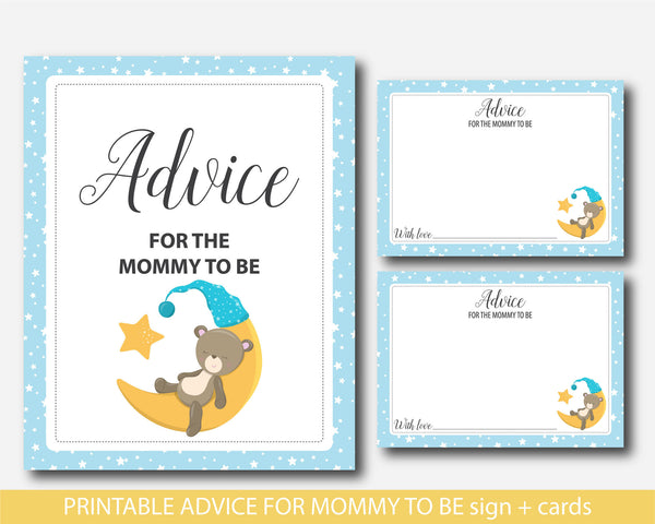 Teddy bear advice for mommy to be cards with sign, Bear baby shower advice for the new mom to be, Well wishes for mom, Baby bear advice game, BB4-09