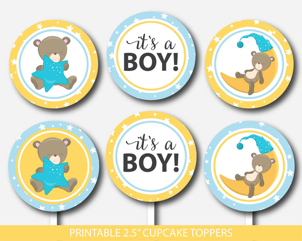 Teddy bear cupcake toppers, Teddy cupcake toppers, Printable cupcake decorations for baby shower, Bear cupcake topper, BB4-11