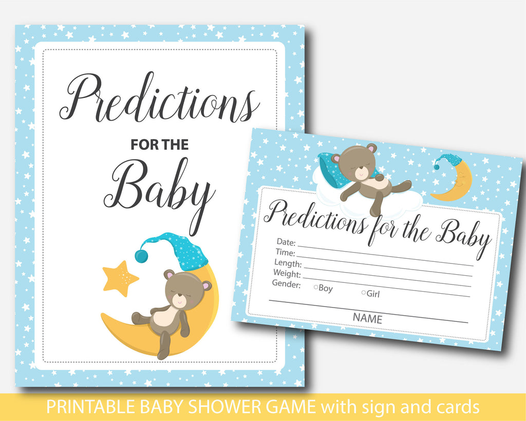 Teddy bear baby predictions, Bear predictions for the baby with cards and sign, Teddy prediction cards, Teddy baby shower prediction baby cards, BB4-17