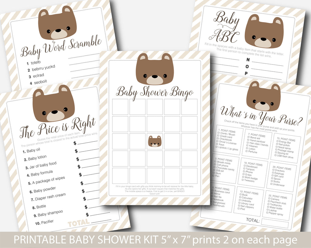 Teddy bear baby shower games, Printable teddy theme baby shower set, BB5-01