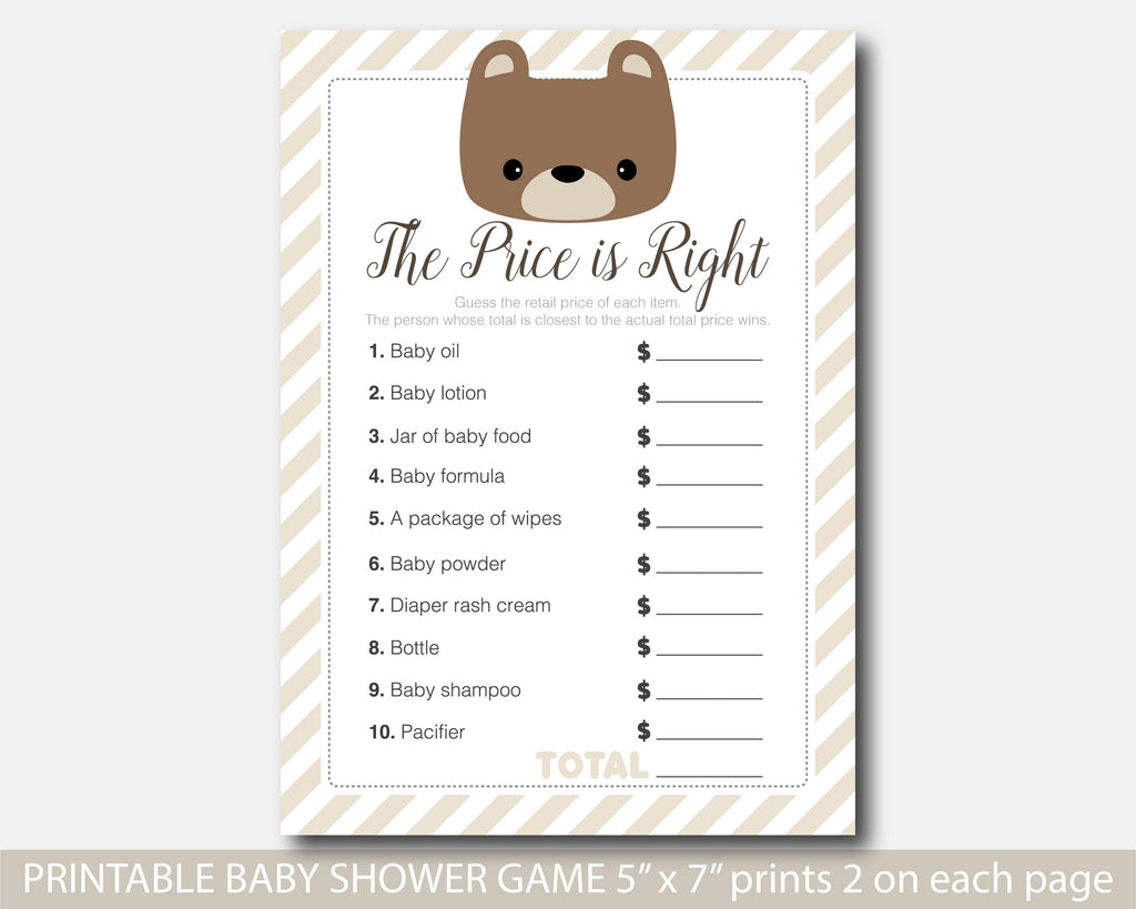Teddy bear the price is right game, Teddy bear baby shower price game, BB5-05