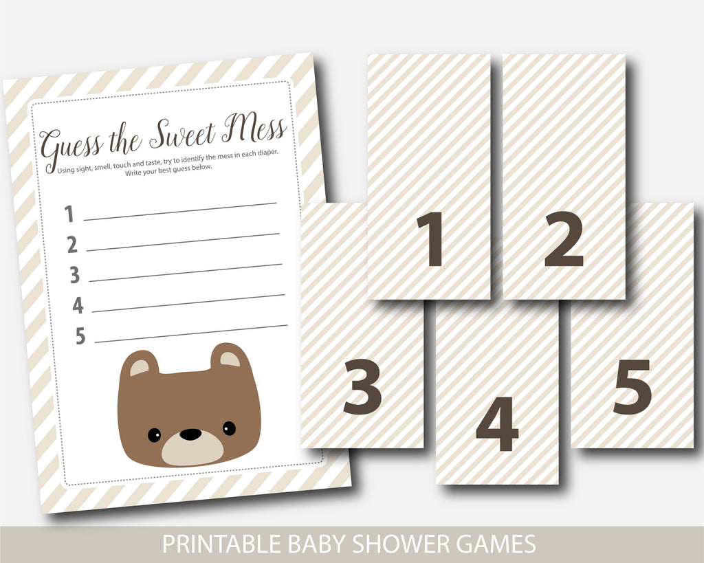 Teddy Bear Guess The Sweet Mess Baby Shower Game Dirty Diapers