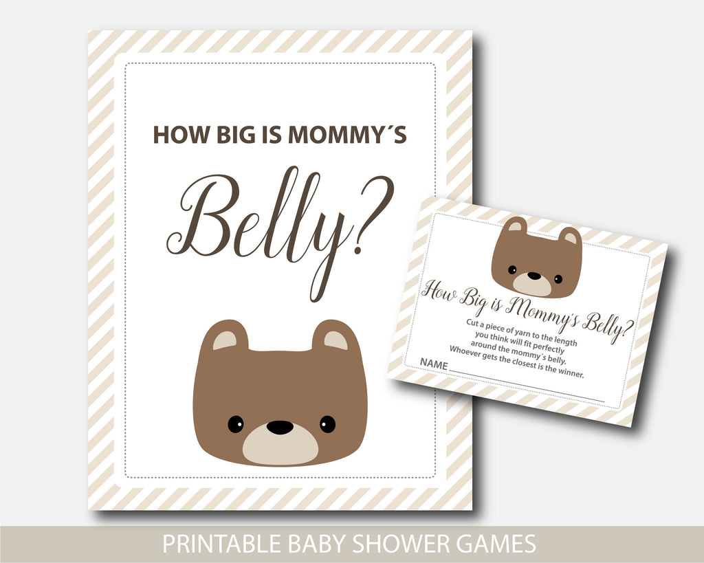 Teddy bear shower game how big is mommy´s belly with cards and table sign, BB5-12