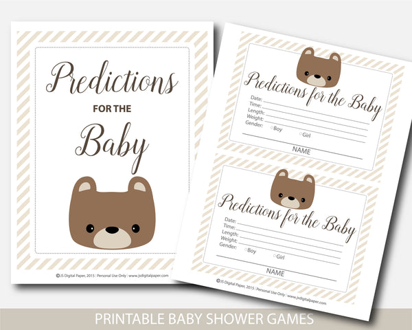 Teddy bear predictions for the baby with cards and sign, Teddy baby shower, BB5-15