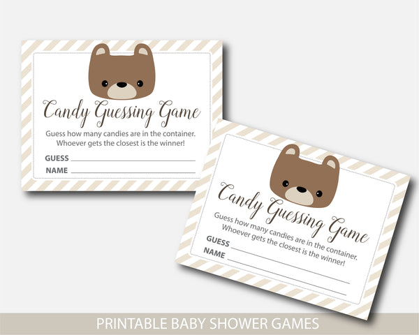 Teddy baby shower candy guessing game, M&Ms guessing game, Jelly bean game, BB5-16