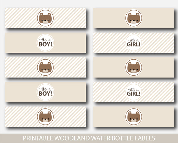 Teddy bear water bottle labels for teddy bear themed party, BB5-18