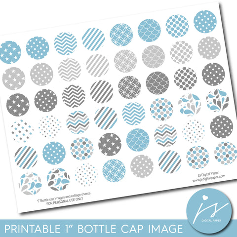 "Baby blue 1"" inch bottle cap images with polka dots, stars, stripes and chevron, BC-05"
