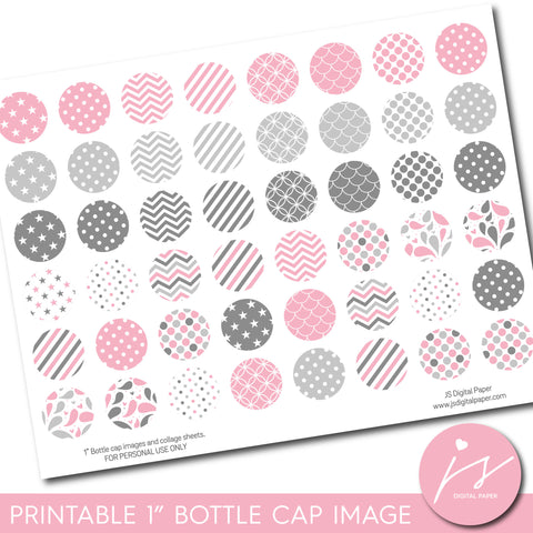 "Baby pink 1"" inch bottle cap images with polka dots, stars, stripes and chevron, BC-07"
