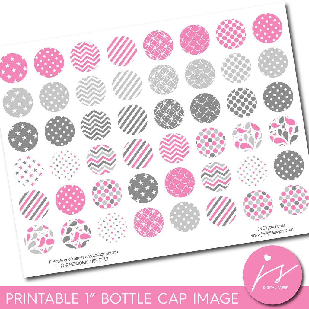 "Lollipop pink 1"" inch bottle cap images with polka dots, stars, stripes and chevron, BC-09"