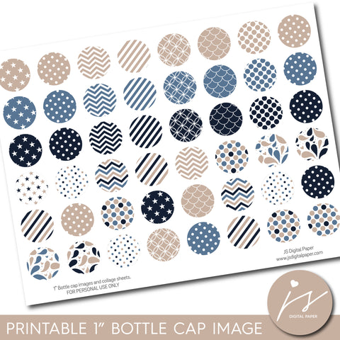 "Beige, blue and navy 1"" inch bottle cap images with polka dots, stars, stripes and chevron, BC-23"