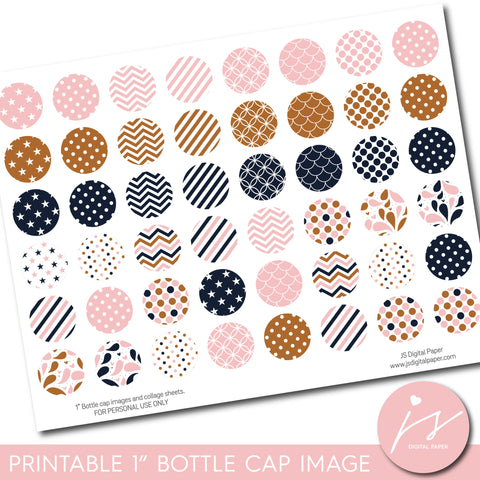 "Brown, pink and navy 1"" inch bottle cap images with polka dots, stars, stripes and chevron, BC-25"