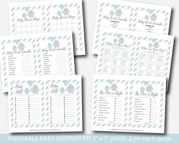 Chicken baby shower game package in blue and grey, Farm baby shower, Ready to hatch baby shower, Chick baby shower, Animal baby shower, Bird baby shower, BC1-01