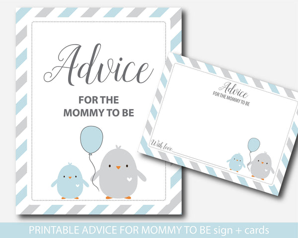 Chicken advice for the mommy to be baby shower card and sign, Animal advice for the mommy to be, Bird advice for the mom to be, BC1-09