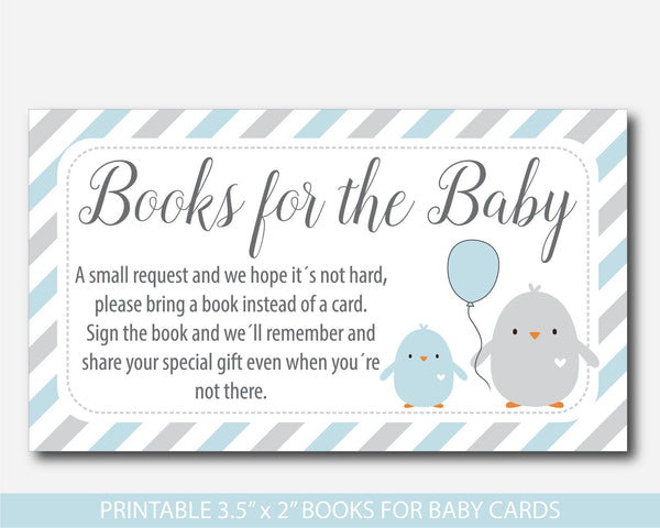 Blue baby shower chicken Bring a book instead of a card inserts, Blue books for the baby cards with cute birds, Book request, BC1-14